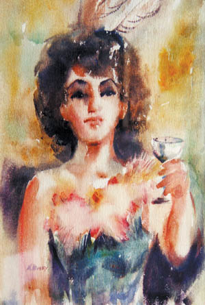 Painting by Marian Busey, her version of famous Colorado City madam, Laura Bell.